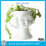 Beauty Girl White Ceramic Head Planters