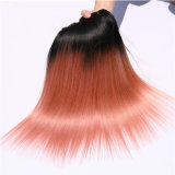 Fashionable Ombre 1b/Pink Straight Indian Virgin Hair Weft
