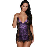 Black Purple Scalloped Lace Chemise