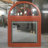 Arched Top Double Glazing Tempered Clear Glass Aluminum Tilt and Turn Windows with Built-in Shutter