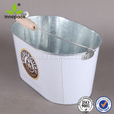 10qt Galvanized Metal Ice Bucket Beer Bucket with Wooden Handle