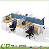 Full Panel Wooden Furniture Office Partition with Wooden Movable Cabinet