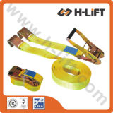 3′′ Plastic Handle Cargo Lashing Strap with Flat Hook