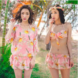 Three Piece Flower Pink Anti-UV Skirt Shine Pretty Stock Bikini