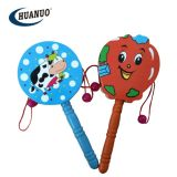 Wholesale Wooden Cartoon Rattle Drum Shake Musical Instruments Toys for Kid