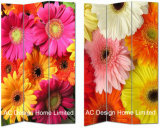 Fresh Flower Design Living Room Canvas and Wooden Printing Decorative Folding Screen Room Divider X 3 Panel