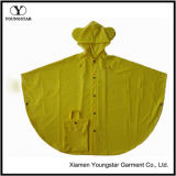 New Style Yellow Color PVC Waterproof Rain Poncho for Children