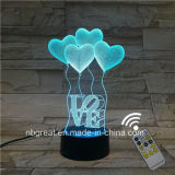 2016 New Decorative 3D LED Night Light Illusion Table Lamp with Remote Controller