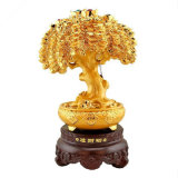 Hand-Painted Carving Wealth Yuanbao Pachira Macrocarpa Money Tree Trees Statue