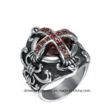 Jewelry Mens Steel Ring Diamond Ring Red Rhinestone Zircon