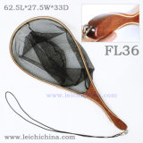 Soft Nylon Hand-Fitting Handle Wooden Fly Fishing Trout Landing Net
