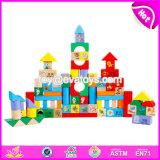 Wholesale Cheap 100 Pieces Kids Wooden Building Blocks Toys Building Block Set for Sale W13b026