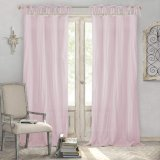 Pink Home Fashions Crushed Semi-Sheer Adjustable Tie Top Single Panel Cotton Voile Nnatural Look Sheer Curtain Window Curtain
