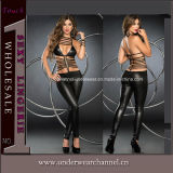 2017 Women Sexy Leather Backless Strappy Jumpsuit Clothing Lingerie (TBLS403)