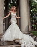 2018 Bridal Evening Gowns Cap Sleeve Lace Mermaid Wedding Dresses Z2081