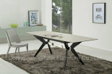 Modern Factory MDF Extension Marble Glass Metal Dining Table Set Cymbate Furniture