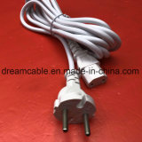 1.8m White Ce Schuko Plug EU Power Cord with IEC C13