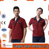 100% Cotton Red Unisex Staff Working Uniform with Short Sleeve