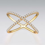 Gold Plating Cross Silver Ring with Cubic Zircon
