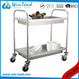 2 Tiers Round Tube Hand Push Service Deep Shelves Trolley Cart