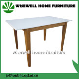 Solid White Top Oak Table Rectangle Wooden Table
