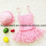 Girl's Lace Pleated Skirt Swimming Suit, Lace Lovely Swimming Wear