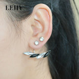 Silver Plated Crystal Rhinestone Asymmetry Double Sided Stud Earrings