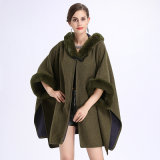 Ladies′loose Cap Knitted Shawl Cloak Jacket
