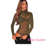 Green Mesh Unlined Mock Neck Bodysuit