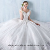 Princess Lace Flower V-Collar Sleeveless Floor-Length Wedding Dress