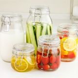 Clear Round Shape Lock Glass Container for Jam