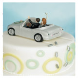 Bride & Groom in Car Figurine Wedding Cake Topper
