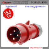 Male IEC60309 IP44 16A/32A Connector with 3p+PE 380-415V