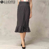 Elegent Calf Length High Waisted Ruffle Polka DOT Skirt Modest Design