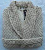 Long Jacquard Coral Fleece Fake Fur Robe