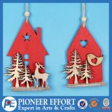Wooden Red House with Deer and Bird for Christmas Decoration