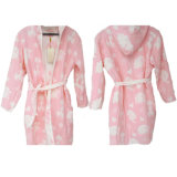 Jacquard Cotton Bathrobe with Hooded for Adults/Kids