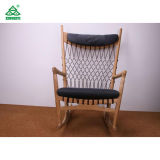Unique Retro Style Rocking Wooden Lounge Chair with Solid Wood Fabric Cushion