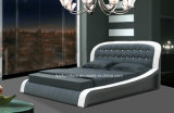 Luxury Modern Bedroom Set Italy Leather Soft Double Bed