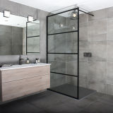 European Black Aluminium Alloy Grid Patterned Glass Economic Shower Screen