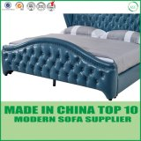 European Modern Genuine Leather King Size Home Bed with Tufted