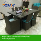 Th1201 Garden Patio Dining Table Dining Chair Set Black Rattan Furniture