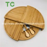 Amazon Hot Selling Fancy Rotatable Round Bamboo Cheese Cutting Board with Cutlery Set Bamboo Cheese Knife Set