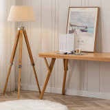 """Bamboo Natural Color Large Tripod Floor Lamp with White Linon Furniture/Lighting/LED Lighting /Lamp/Decoration/ LED/Bulb/Tripod/Indoor Light/"
