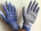 New Product 13G Polyester with PU Coated with PVC Dots Safety Work Gloves