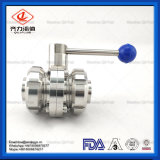 Sanitary Stainless Steel Manual Welded Three-Piece Butterfly Valve