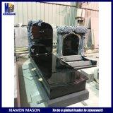 Custom Shanxi Black Granite Rose Flower Carving Cemetery Monument