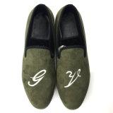 Prom Party Dance Blackish Green Velvet Men's Flats Shoes