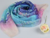 100% Silk Digital Print Shawl Fashion Silk Chiffon Scarf