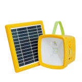 Portable Indoor Solar LED Light and Outdoor Camping Solar Power LED Lantern with Big Solar Panel and Mobile Phone Charging and FM Radio
